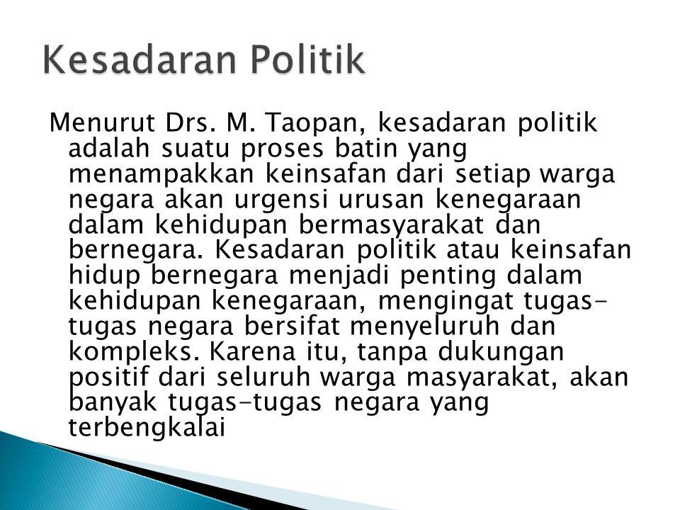 Menurut Drs. M. Taopan, kesadaran politik adalah suatu proses batin yang menampakkan keinsafan dari setiap warga negara akan urgensi urusan kenegaraan