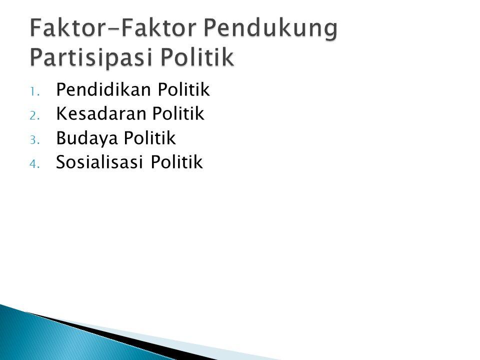 1. Pendidikan Politik 2. Kesadaran Politik 3. Budaya Politik 4. Sosialisasi Politik