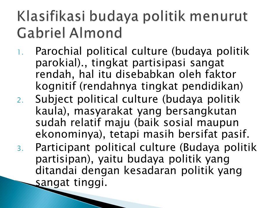 1. Parochial political culture (budaya politik parokial)., tingkat partisipasi sangat rendah, hal itu disebabkan oleh faktor kognitif (rendahnya tingk