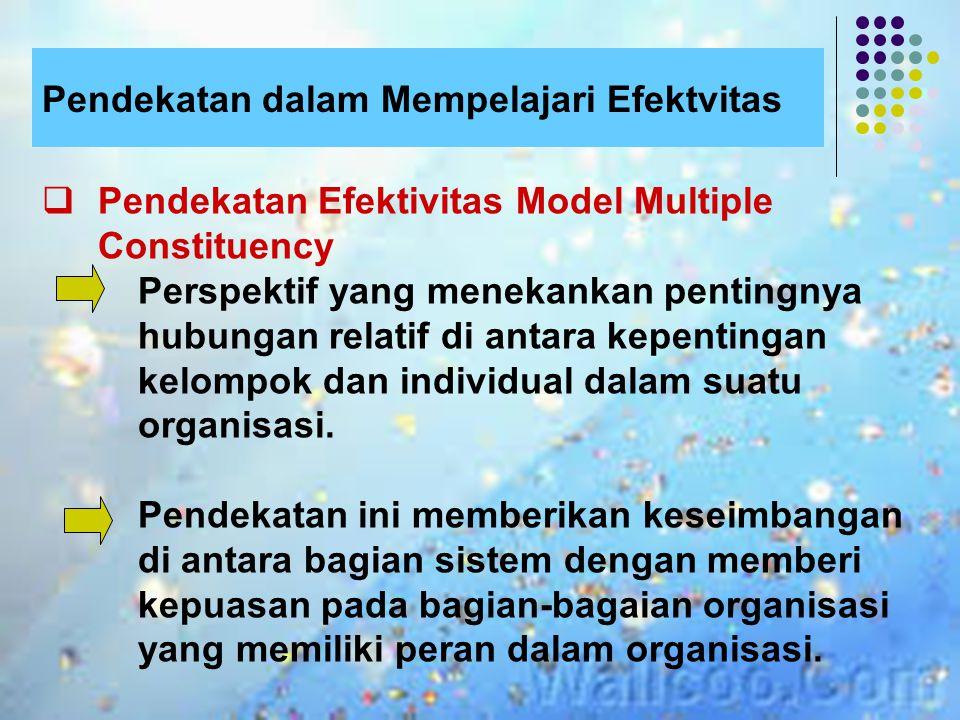 Pendekatan dalam Mempelajari Efektvitas  The Goal Approach (Pendekatan Tujuan Mencapai Efektivitas) Menentukan efektivitas berdsrkan pd gagasan bhw o