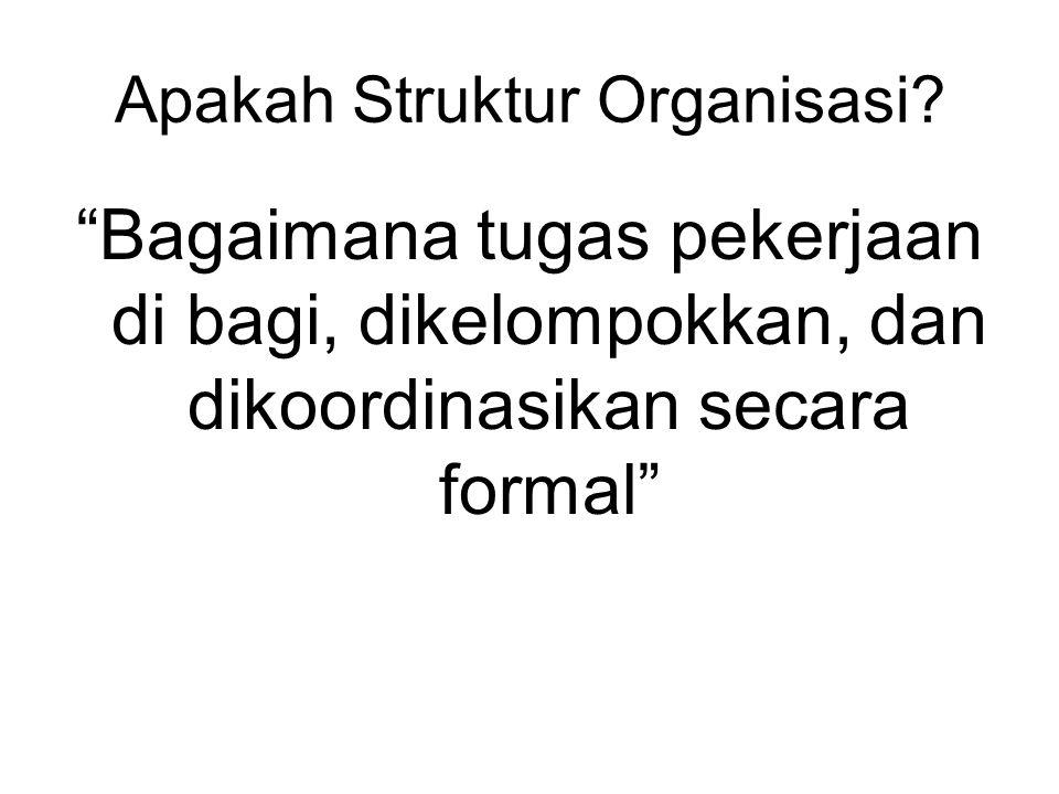 """Apakah Struktur Organisasi? """"Bagaimana tugas pekerjaan di bagi, dikelompokkan, dan dikoordinasikan secara formal"""""""