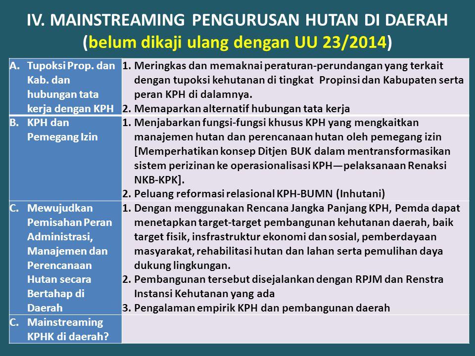 IV. MAINSTREAMING PENGURUSAN HUTAN DI DAERAH (belum dikaji ulang dengan UU 23/2014) A.Tupoksi Prop. dan Kab. dan hubungan tata kerja dengan KPH 1.Meri