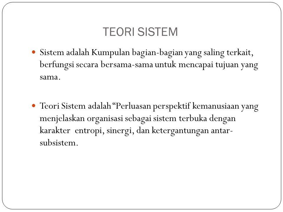 TEORI SISTEM Sistem adalah Kumpulan bagian-bagian yang saling terkait, berfungsi secara bersama-sama untuk mencapai tujuan yang sama. Teori Sistem ada
