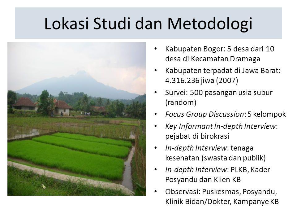 Lokasi Studi dan Metodologi Kabupaten Bogor: 5 desa dari 10 desa di Kecamatan Dramaga Kabupaten terpadat di Jawa Barat: 4.316.236 jiwa (2007) Survei: