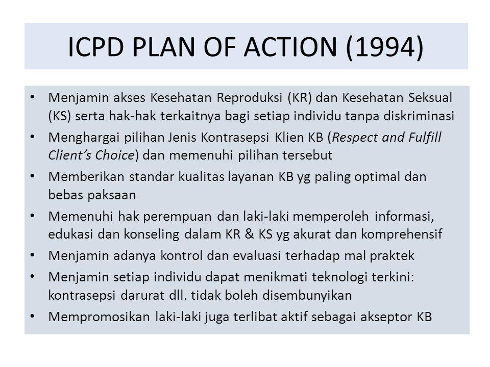ICPD PLAN OF ACTION (1994) Menjamin akses Kesehatan Reproduksi (KR) dan Kesehatan Seksual (KS) serta hak-hak terkaitnya bagi setiap individu tanpa dis