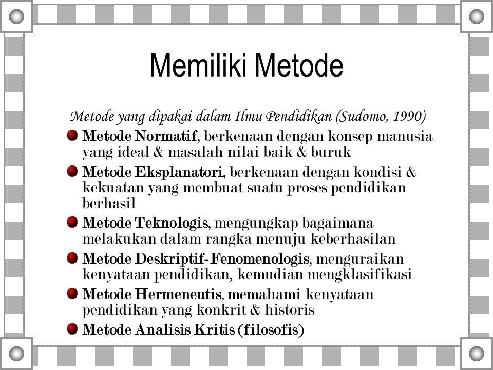 Memiliki Metode Metode yang dipakai dalam Ilmu Pendidikan (Sudomo, 1990) Metode Normatif, berkenaan dengan konsep manusia yang ideal & masalah nilai b