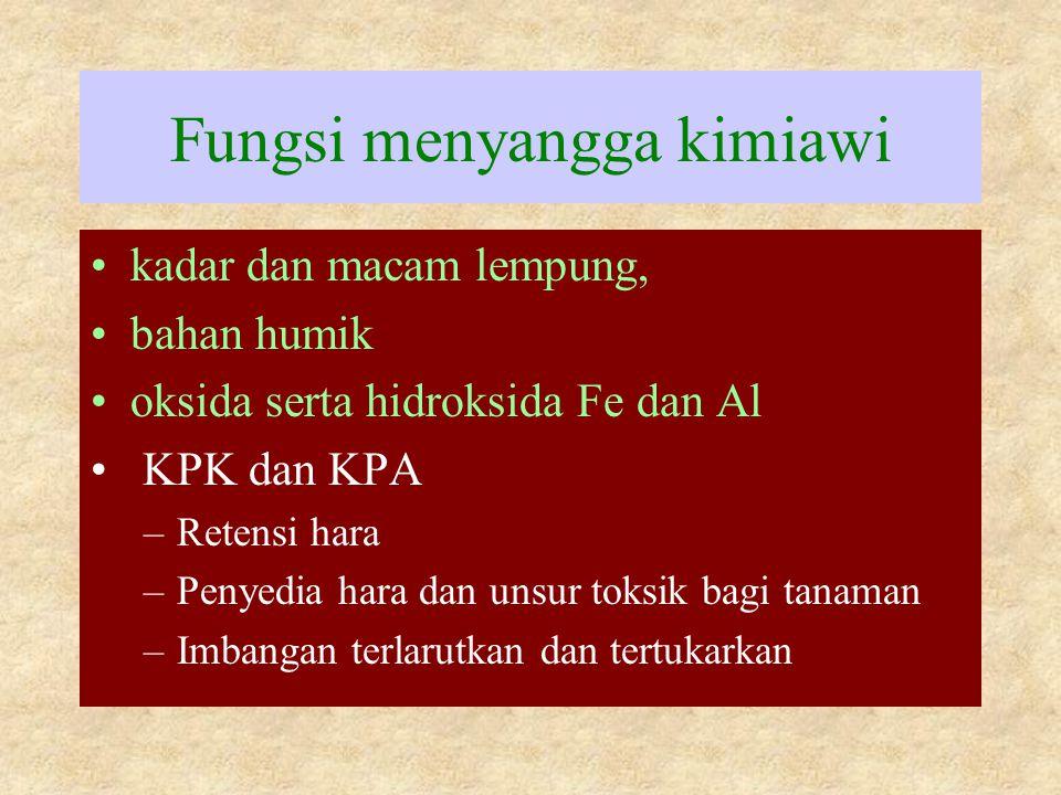 Fungsi menyangga kimiawi kadar dan macam lempung, bahan humik oksida serta hidroksida Fe dan Al KPK dan KPA –Retensi hara –Penyedia hara dan unsur tok
