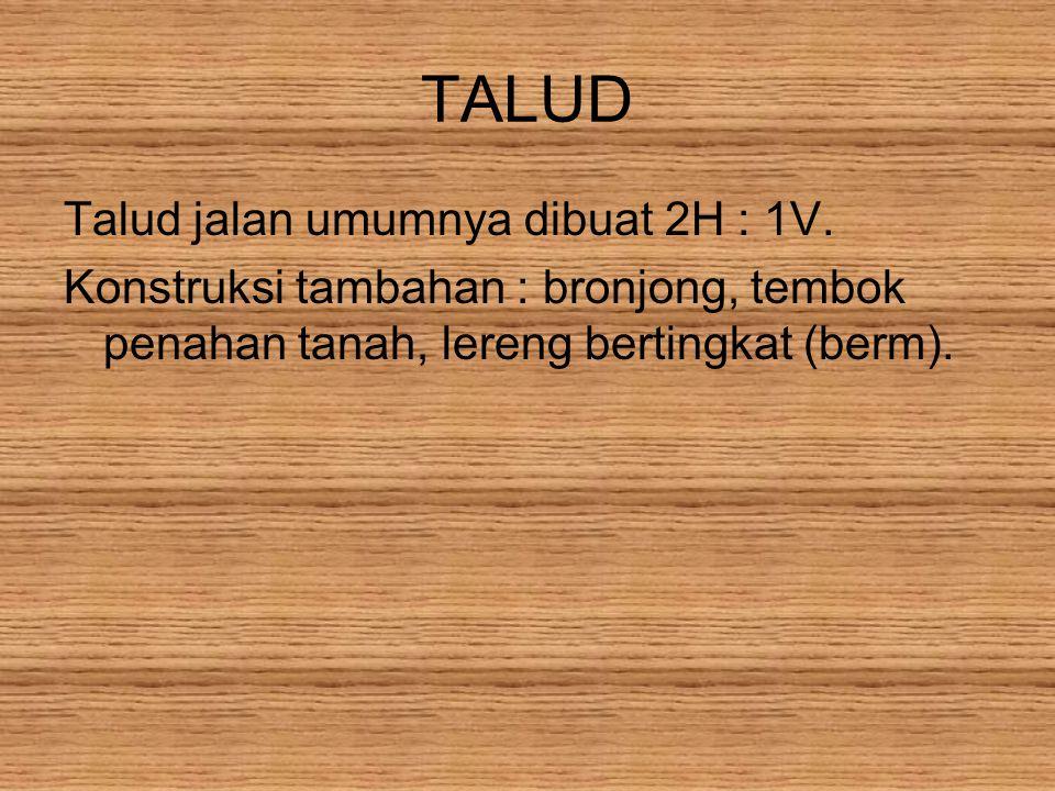 TALUD Talud jalan umumnya dibuat 2H : 1V.