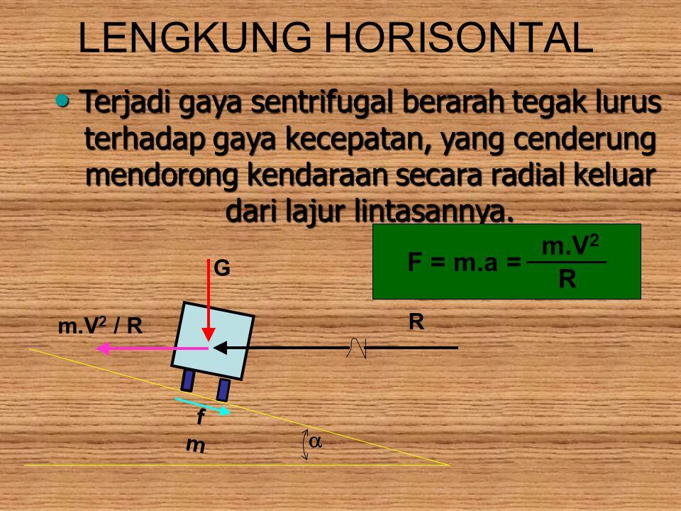 LENGKUNG HORISONTAL Terjadi gaya sentrifugal berarah tegak lurus terhadap gaya kecepatan, yang cenderung mendorong kendaraan secara radial keluar dari