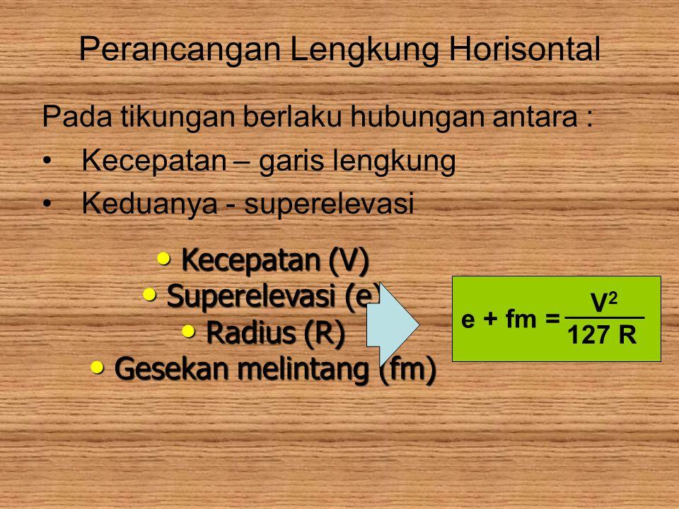 Perancangan Lengkung Horisontal Pada tikungan berlaku hubungan antara : Kecepatan – garis lengkung Keduanya - superelevasi Kecepatan (V) Kecepatan (V) Superelevasi (e) Superelevasi (e) Radius (R) Radius (R) Gesekan melintang (fm) Gesekan melintang (fm) e + fm = V2V2 127 R