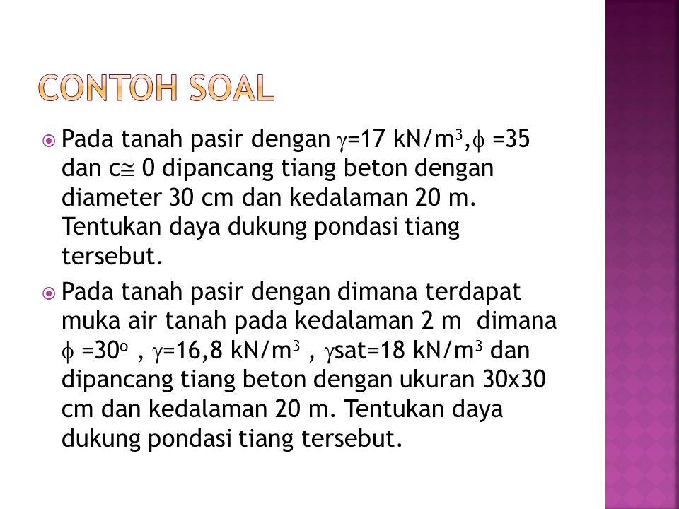  Pada tanah pasir dengan  =17 kN/m 3,  =35 dan c  0 dipancang tiang beton dengan diameter 30 cm dan kedalaman 20 m. Tentukan daya dukung pondasi t