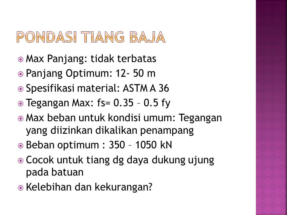  Max Panjang: tidak terbatas  Panjang Optimum: 12- 50 m  Spesifikasi material: ASTM A 36  Tegangan Max: fs= 0.35 – 0.5 fy  Max beban untuk kondis