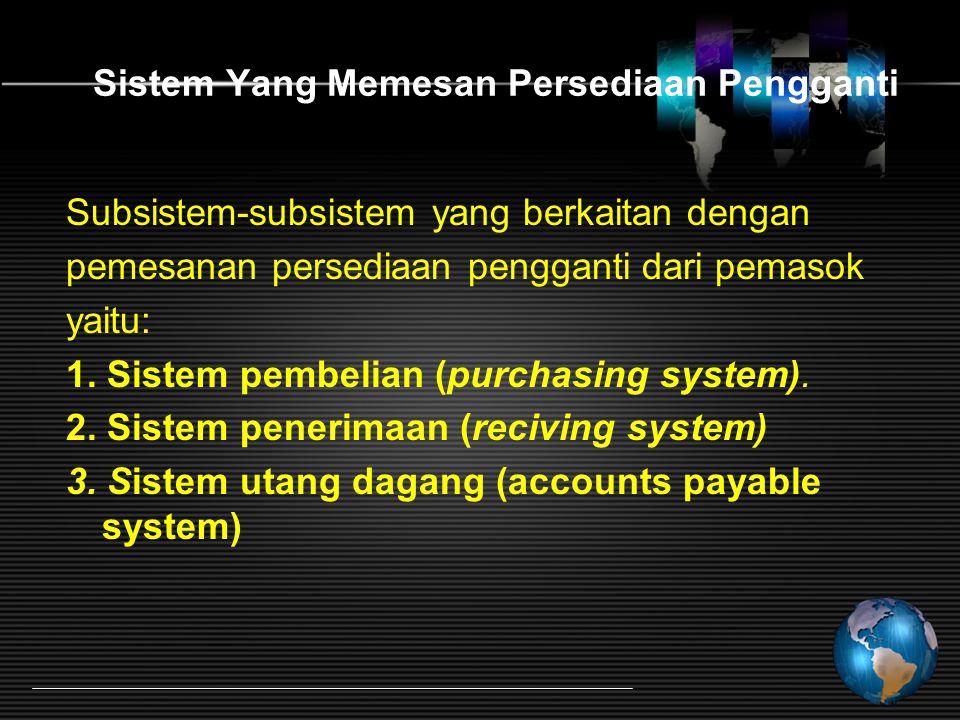 Sistem Yang Memesan Persediaan Pengganti Subsistem-subsistem yang berkaitan dengan pemesanan persediaan pengganti dari pemasok yaitu: 1. Sistem pembel