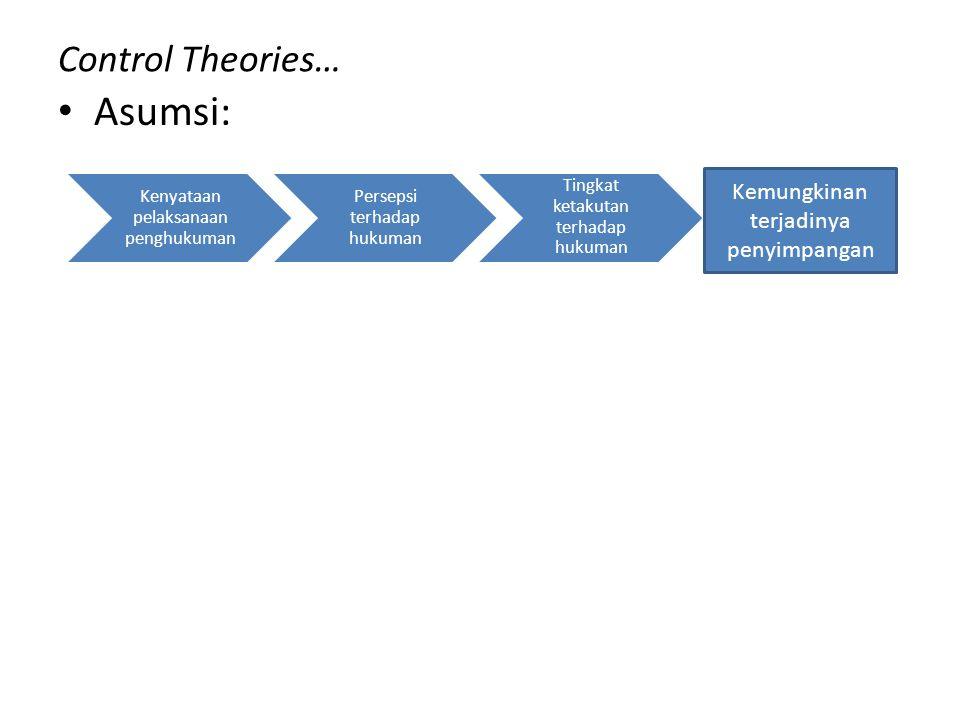 Control Theories… Asumsi: Kenyataan pelaksanaan penghukuman Persepsi terhadap hukuman Tingkat ketakutan terhadap hukuman Kemungkinan terjadinya penyim