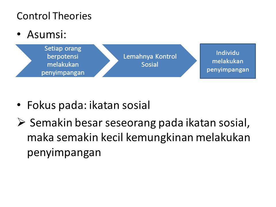 Control Theories Asumsi: Fokus pada: ikatan sosial  Semakin besar seseorang pada ikatan sosial, maka semakin kecil kemungkinan melakukan penyimpangan