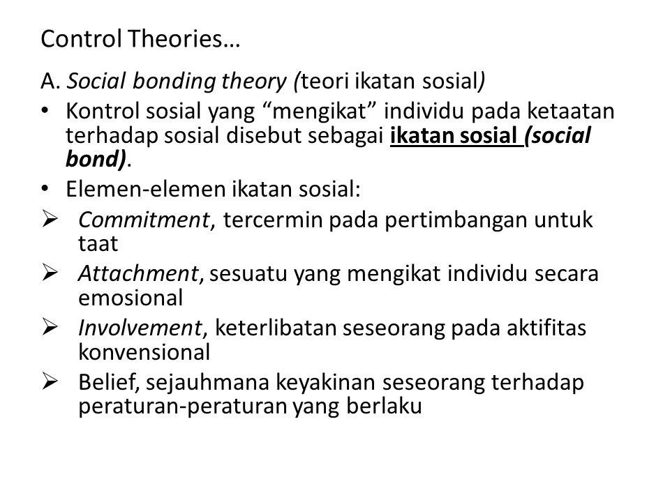 """Control Theories… A. Social bonding theory (teori ikatan sosial) Kontrol sosial yang """"mengikat"""" individu pada ketaatan terhadap sosial disebut sebagai"""