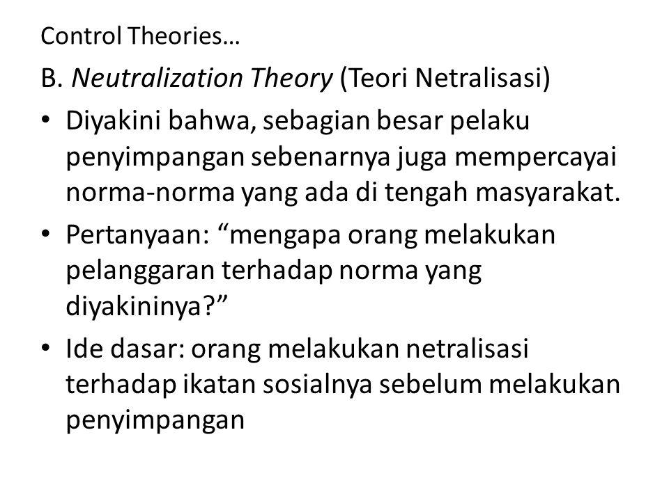 Control Theories… B. Neutralization Theory (Teori Netralisasi) Diyakini bahwa, sebagian besar pelaku penyimpangan sebenarnya juga mempercayai norma-no