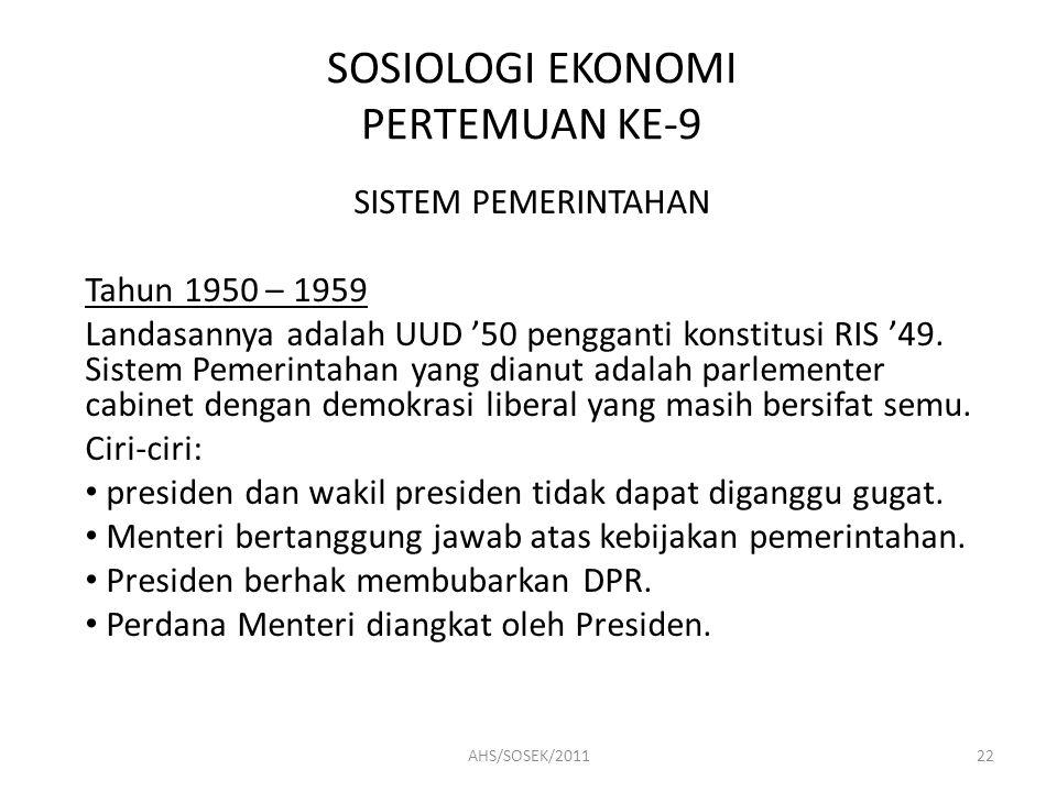 SOSIOLOGI EKONOMI PERTEMUAN KE-9 SISTEM PEMERINTAHAN Tahun 1950 – 1959 Landasannya adalah UUD '50 pengganti konstitusi RIS '49.