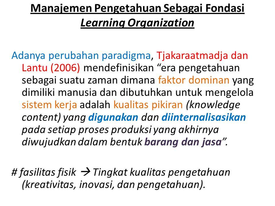 """Manajemen Pengetahuan Sebagai Fondasi Learning Organization Adanya perubahan paradigma, Tjakaraatmadja dan Lantu (2006) mendefinisikan """"era pengetahua"""