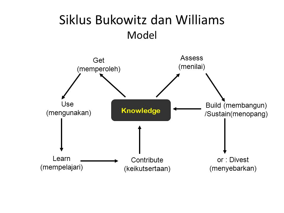 Siklus Bukowitz dan Williams Model Knowledge Get (memperoleh) Use (mengunakan) Learn (mempelajari) Contribute (keikutsertaan) Assess (menilai) Build (