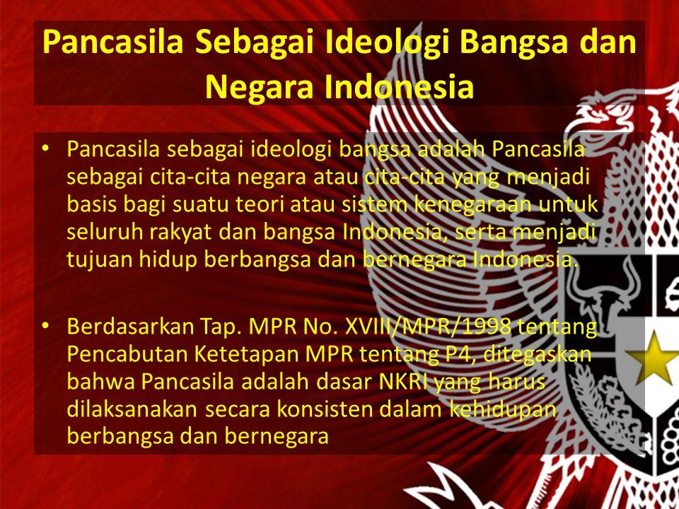 Pancasila Sebagai Ideologi Bangsa dan Negara Indonesia Pancasila sebagai ideologi bangsa adalah Pancasila sebagai cita-cita negara atau cita-cita yang menjadi basis bagi suatu teori atau sistem kenegaraan untuk seluruh rakyat dan bangsa Indonesia, serta menjadi tujuan hidup berbangsa dan bernegara Indonesia.