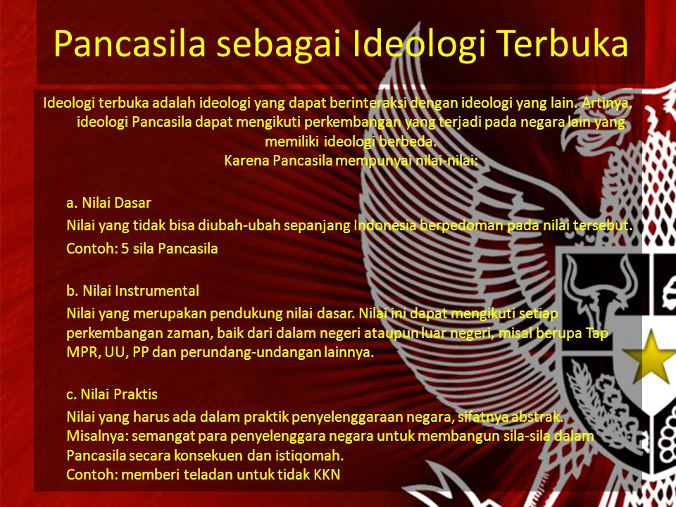 Pancasila sebagai Ideologi Terbuka Ideologi terbuka adalah ideologi yang dapat berinteraksi dengan ideologi yang lain.
