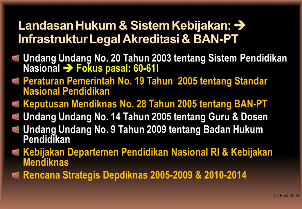 Landasan Hukum & Sistem Kebijakan:  Infrastruktur Legal Akreditasi & BAN-PT Undang Undang No. 20 Tahun 2003 tentang Sistem Pendidikan Nasional  Foku