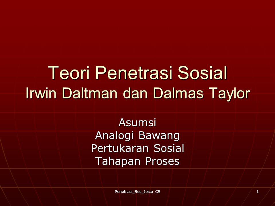 Penetrasi_Sos_Joice CS 1 Teori Penetrasi Sosial Irwin Daltman dan Dalmas Taylor Asumsi Analogi Bawang Pertukaran Sosial Tahapan Proses