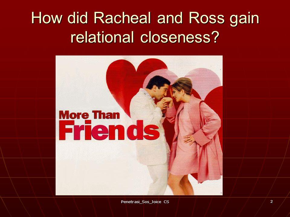 Penetrasi_Sos_Joice CS 2 How did Racheal and Ross gain relational closeness?