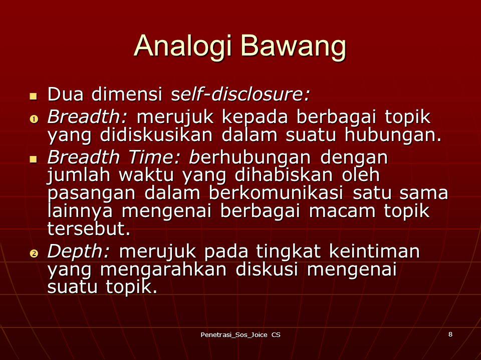 Penetrasi_Sos_Joice CS 8 Analogi Bawang Dua dimensi self-disclosure: Dua dimensi self-disclosure:  Breadth: merujuk kepada berbagai topik yang didiskusikan dalam suatu hubungan.