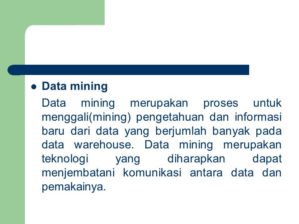 Data mining Data mining merupakan proses untuk menggali(mining) pengetahuan dan informasi baru dari data yang berjumlah banyak pada data warehouse.