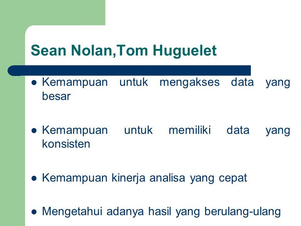 Sean Nolan,Tom Huguelet Kemampuan untuk mengakses data yang besar Kemampuan untuk memiliki data yang konsisten Kemampuan kinerja analisa yang cepat Mengetahui adanya hasil yang berulang-ulang