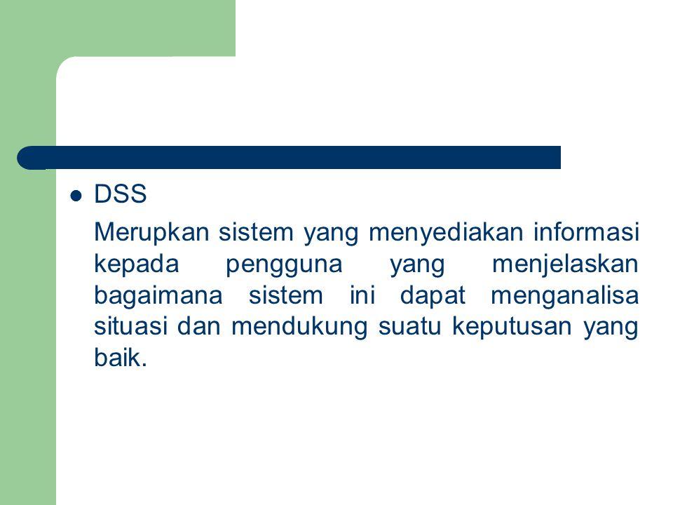 DSS Merupkan sistem yang menyediakan informasi kepada pengguna yang menjelaskan bagaimana sistem ini dapat menganalisa situasi dan mendukung suatu keputusan yang baik.