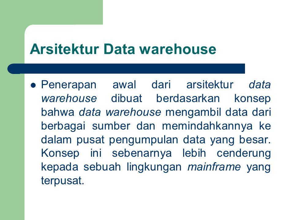 Arsitektur Data warehouse Penerapan awal dari arsitektur data warehouse dibuat berdasarkan konsep bahwa data warehouse mengambil data dari berbagai sumber dan memindahkannya ke dalam pusat pengumpulan data yang besar.