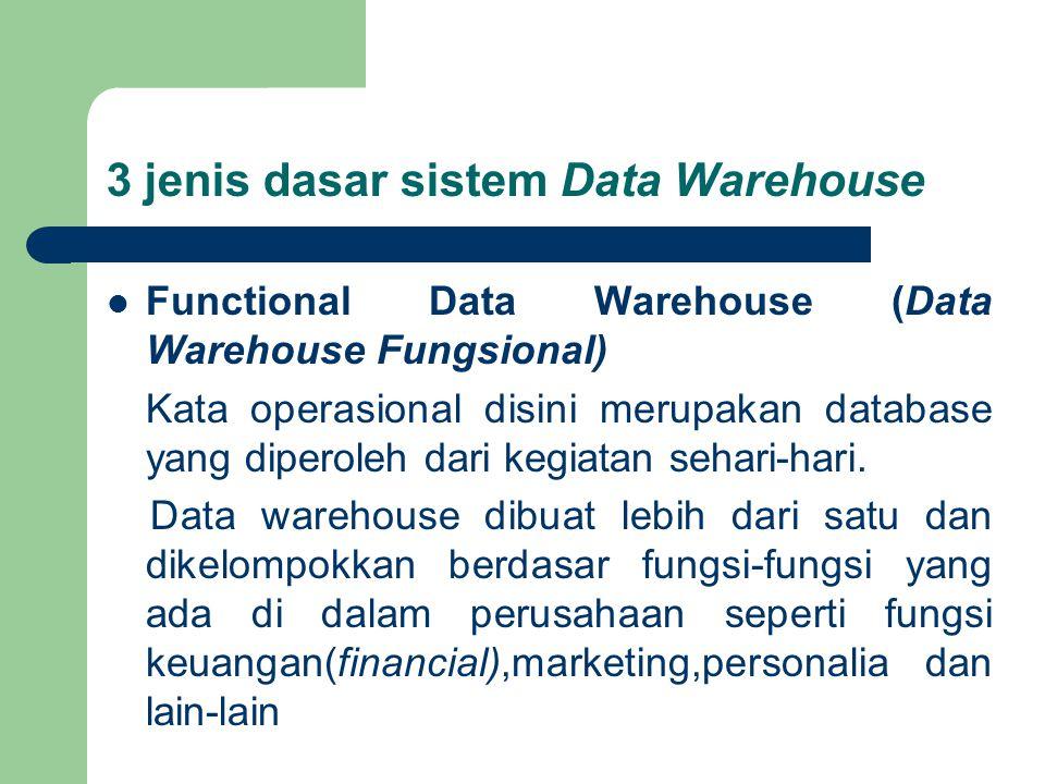 3 jenis dasar sistem Data Warehouse Functional Data Warehouse (Data Warehouse Fungsional) Kata operasional disini merupakan database yang diperoleh dari kegiatan sehari-hari.