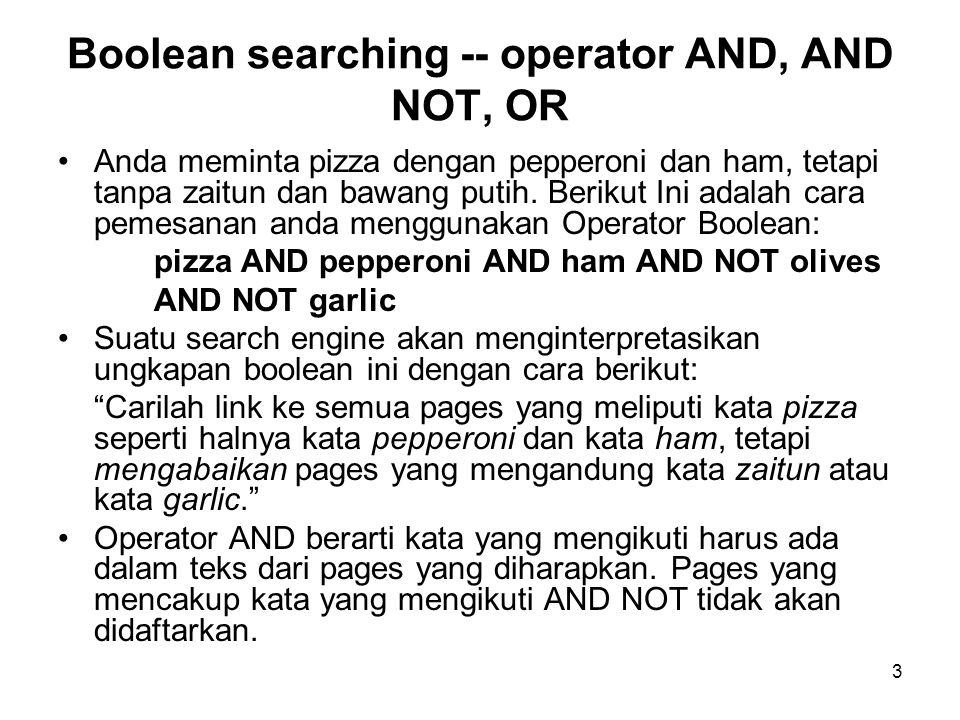 3 Boolean searching -- operator AND, AND NOT, OR Anda meminta pizza dengan pepperoni dan ham, tetapi tanpa zaitun dan bawang putih.
