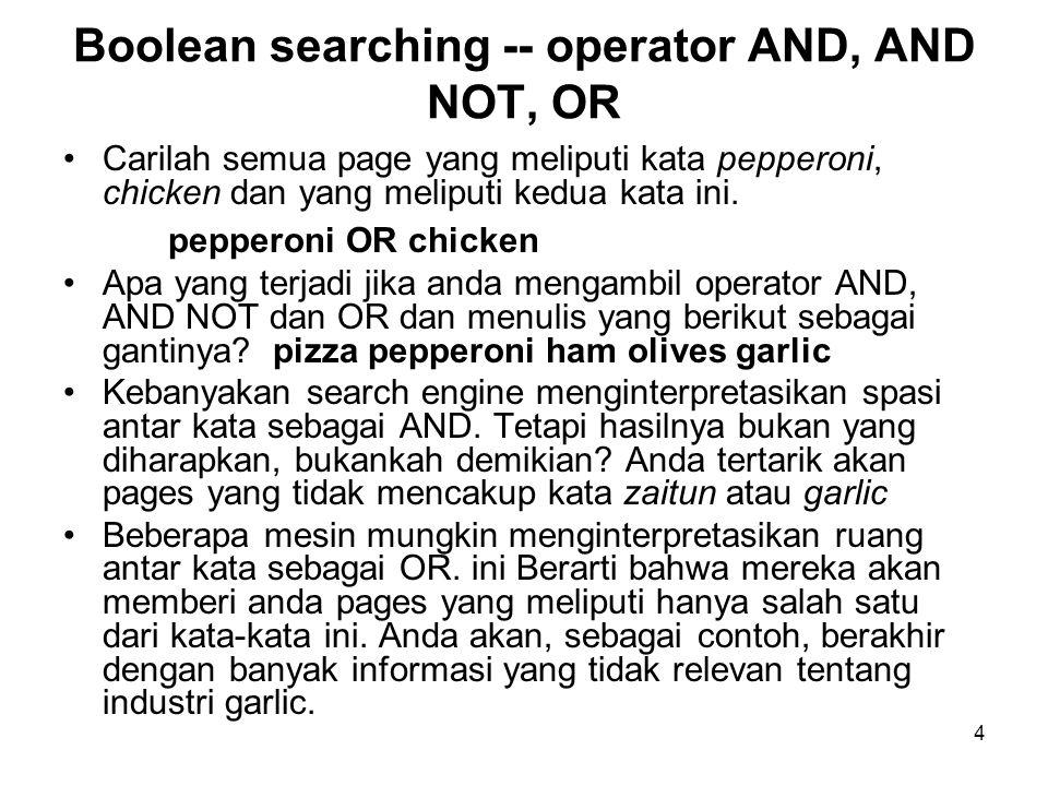 4 Carilah semua page yang meliputi kata pepperoni, chicken dan yang meliputi kedua kata ini.