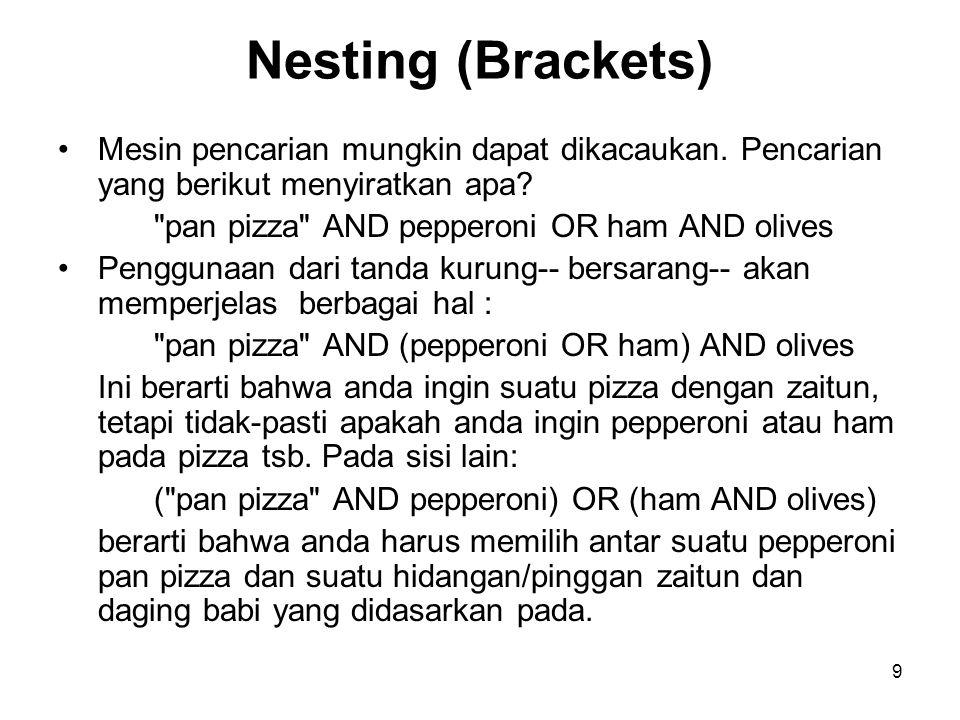 9 Nesting (Brackets) Mesin pencarian mungkin dapat dikacaukan.