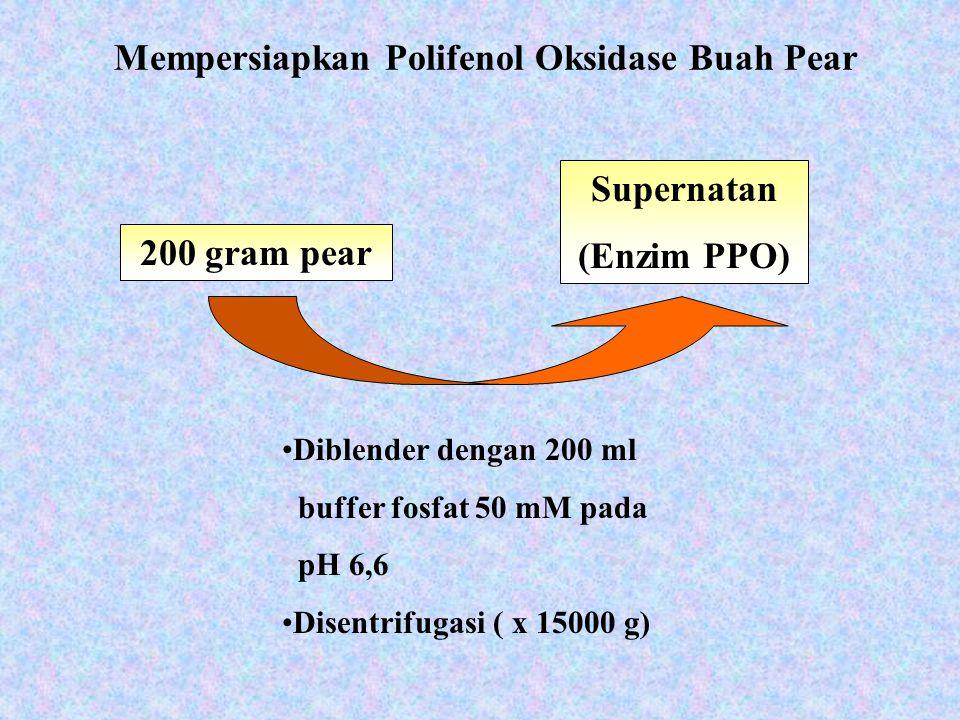 Mempersiapkan Polifenol Oksidase Buah Pear 200 gram pear Supernatan (Enzim PPO) Diblender dengan 200 ml buffer fosfat 50 mM pada pH 6,6 Disentrifugasi