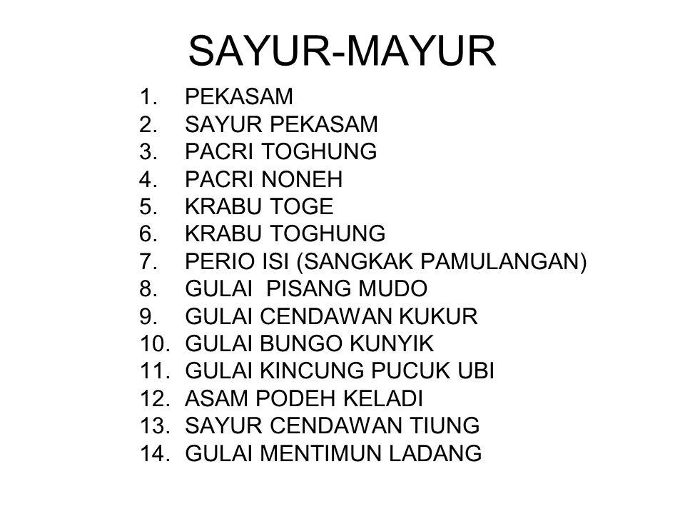 SAYUR-MAYUR 1.PEKASAM 2.SAYUR PEKASAM 3.PACRI TOGHUNG 4.PACRI NONEH 5.KRABU TOGE 6.KRABU TOGHUNG 7.PERIO ISI (SANGKAK PAMULANGAN) 8.GULAI PISANG MUDO