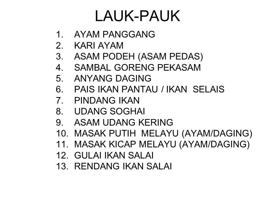LAUK-PAUK 1.AYAM PANGGANG 2.KARI AYAM 3.ASAM PODEH (ASAM PEDAS) 4.SAMBAL GORENG PEKASAM 5.ANYANG DAGING 6.PAIS IKAN PANTAU / IKAN SELAIS 7.PINDANG IKA