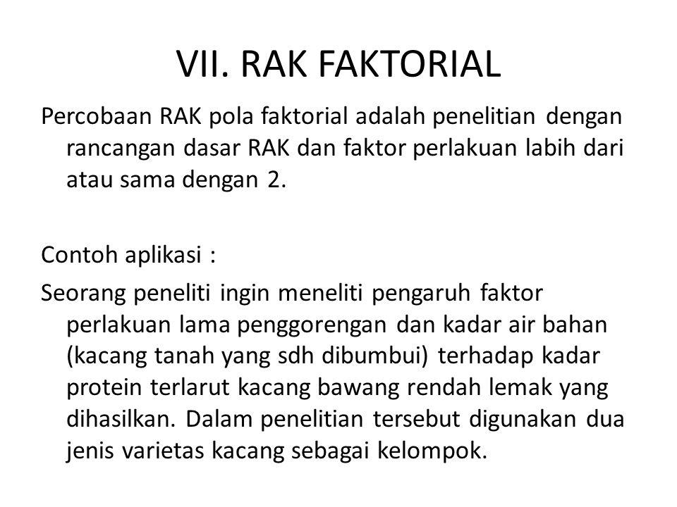 VII. RAK FAKTORIAL Percobaan RAK pola faktorial adalah penelitian dengan rancangan dasar RAK dan faktor perlakuan labih dari atau sama dengan 2. Conto
