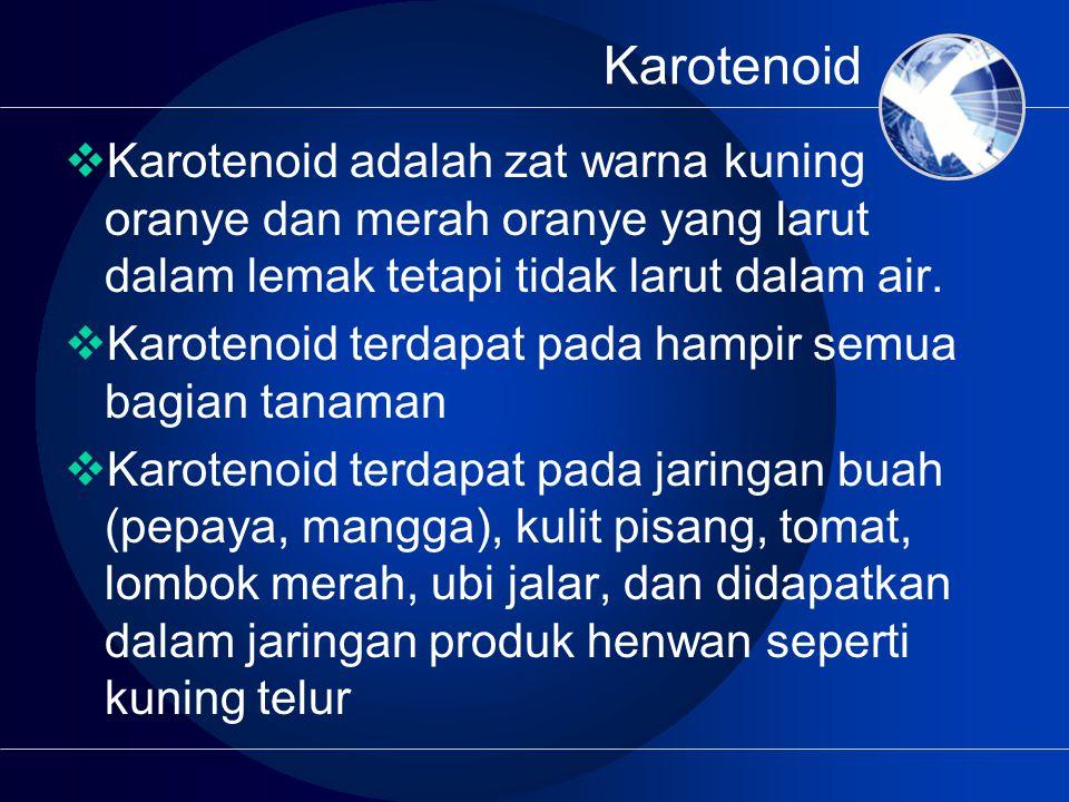 Karotenoid  Karotenoid adalah zat warna kuning oranye dan merah oranye yang larut dalam lemak tetapi tidak larut dalam air.