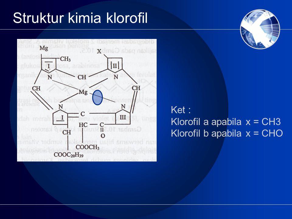 Struktur kimia klorofil Ket : Klorofil a apabila x = CH3 Klorofil b apabila x = CHO