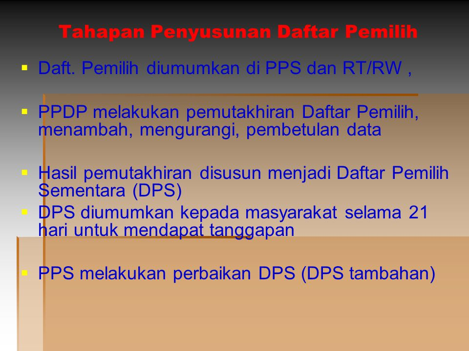 Tahapan Penyusunan Daftar Pemilih   DPS tambahan diumumkan oleh PPS dan msh dimungkinkan utk dilakukan perbaikan   DPS + DPS tambahan = Daftar Pemilih Tetap   DPT diumumkan oleh PPS di tempat yg mudah diakses oleh warga   Jika msh terdapat kesalahan penulisan atau ada warga yg tercantum pada DPS ttp tidak muncul di DPT msh dapat dilakukan perbaikan