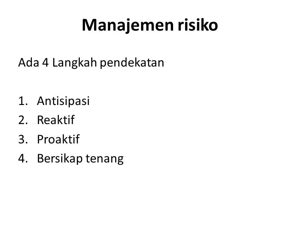 Manajemen risiko Ada 4 Langkah pendekatan 1.Antisipasi 2.Reaktif 3.Proaktif 4.Bersikap tenang