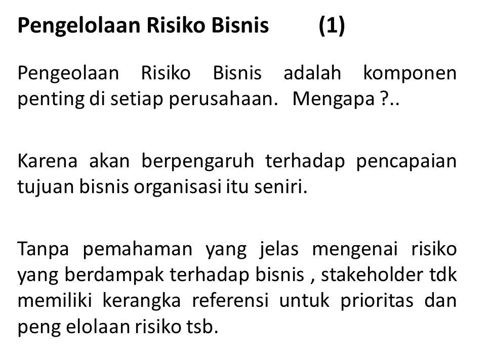 Pengelolaan Risiko Bisnis (1) Pengeolaan Risiko Bisnis adalah komponen penting di setiap perusahaan.