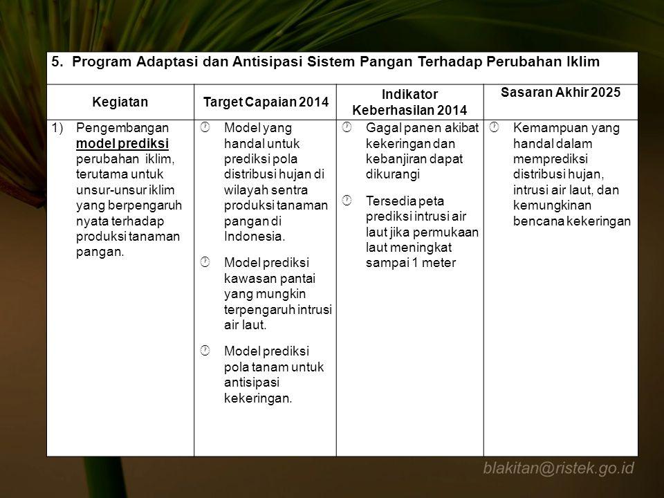 5. Program Adaptasi dan Antisipasi Sistem Pangan Terhadap Perubahan Iklim KegiatanTarget Capaian 2014 Indikator Keberhasilan 2014 Sasaran Akhir 2025 1