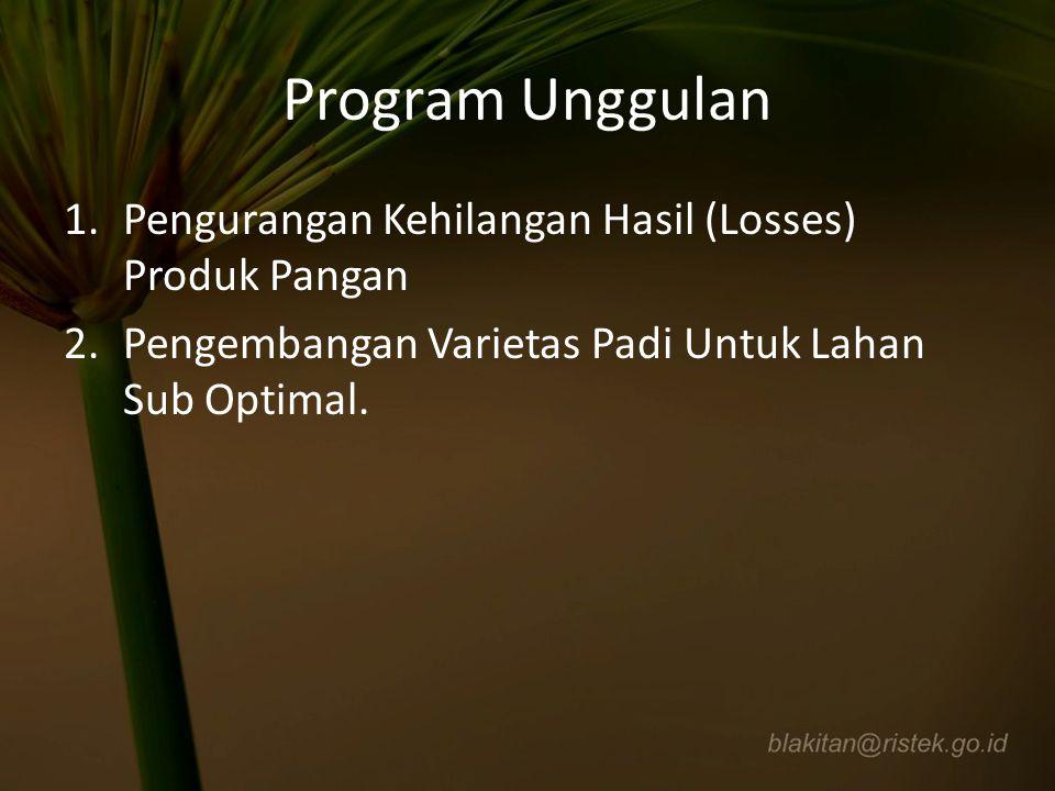 Program Unggulan 1.Pengurangan Kehilangan Hasil (Losses) Produk Pangan 2.Pengembangan Varietas Padi Untuk Lahan Sub Optimal.