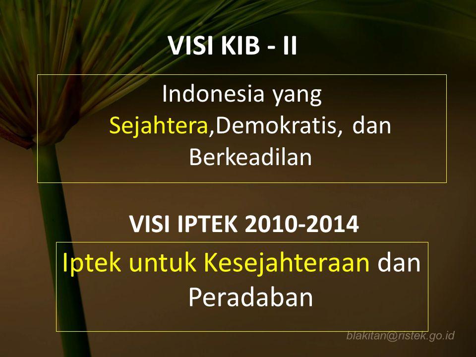 MISI KIB – II 1.Melanjutkan Pembangunan Menuju Indonesia yang Sejahtera 2.Memperkuat Pilar-pilar Demokrasi 3.Memperkuat Dimensi Keadilan di Semua Bidang